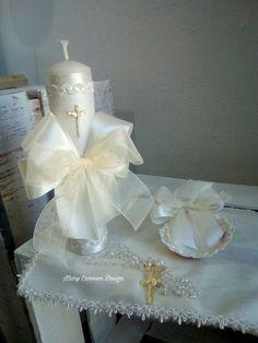 Christening candle set baptism candle vela de por FANNYCARMENDESIGN