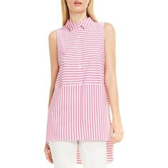 Women's Vince Camuto High/low Stripe Shirt featuring polyvore women's fashion clothing tops electric pink vince camuto tops stretch top stripe shirt pink sleeveless shirt striped top