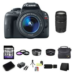 Canon EOS Rebel SL1 Digital Camera w/18-55mm & 75-300mm Lenses 32GB Package