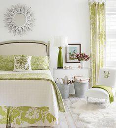 Love the fresh spring green and white. Possibly use dark wood accents to complement our four post.