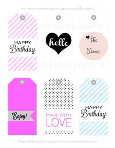 free chic printable gift tags for different occassions from anna and blue paperi. free chic printable gift tags for different occassions from anna and blue paperie Free Printable Gift Tags, Printable Labels, Free Printables, Party Printables, Happy Birthday Blue, Birthday Love, Tag Templates, Pocket Letters, Paper Tags