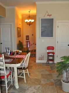 Dining Room. Non-traditional red, white and blue decor by Sharon McBride of All That Nonsense.