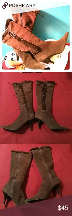 LAUREN Ralph Lauren LEATHER Beautiful leather boots. Used but still have lots of life left. There are flaws so please see pics. Please feel free to ask any questions. Lauren Ralph Lauren Shoes Heeled Boots