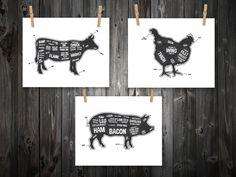 Cow Pig Chicken Butcher Diagram Butcher Chart. by BentonParkPrints
