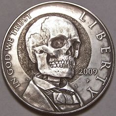 "eye-see-skeletons: "" *coins* "" Memento Mori, Hobo Nickel, Coin Art, 3d Fantasy, Skull And Bones, Skull Art, Macabre, Dark Art, Sugar Skull"
