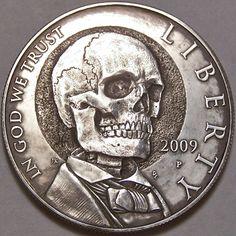 JOHN HUGHEY HOBO DOLLAR: 2009 LINCOLN SILVER COMMEMORATIVE SKULL