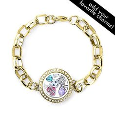 CZ Round Floating Locket Link Bracelet >>> Check this awesome product by going to the link at the image.
