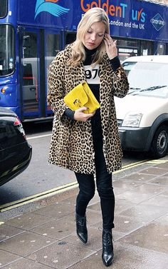 kate moss leopard coat and 1976 jumper