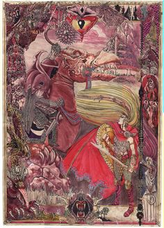 fascinating illustration-- I love busy drawings, tells so much on one page....Eowyn and the Nazgul