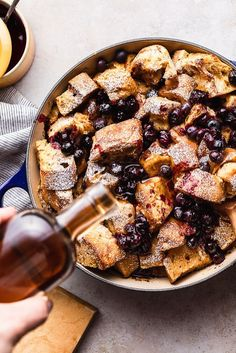 Bring out your favorite cookware and whip up a crowd-pleasing recipe for a beautiful brunch at home. This Blueberry French Toast Casserole is delicious, dairy-free, and easy to adapt with different ingredients. Blueberry French Toast Casserole, Baked French Toast Casserole, French Toast Bake, Healthy Dessert Recipes, Vegan Snacks, Brunch Recipes, Breakfast Recipes, Breakfast Ideas, Dairy Free French Toast
