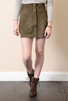 Sady & Lu Button Front Faux Suede Skirt | South Moon Under