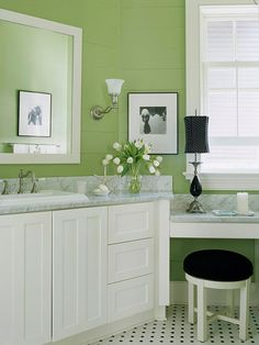 Love this color green for our guest bedroom, and possibly a lighter shade of this in our master bath. The white sink (but keeping our wooden vanity top), fancy faucette, and a trendy grey painted vanity could be just what I need to make my ugly floor work. Might paint the mirror frame black since it looks so nice against this color. Who woulda thought?