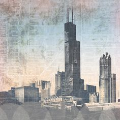 Premium Thick-Wrap Canvas entitled Chicago Skyline I. Skyscrapers in Chicago against a grunge-textured map. Our proprietary canvas provides a classic and distinctive texture. It is acid free and specially developed for our giclee print platforms. Painting Prints, Wall Art Prints, Poster Prints, Canvas Prints, Chicago City, Chicago Skyline, Thing 1, Light Blue Background, Paint Splash