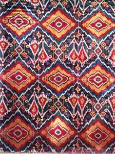 Antique silk velvet Ikat panel, uzbek ethnic textiles, 19th century, Uzbekistan, Central Asia