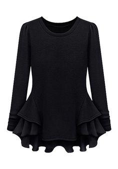 Black Peplum Ruffled Top - Long Sleeves Pemplum Top