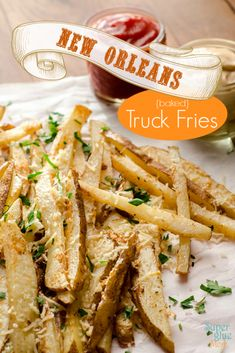 New Orleans Food Truck Fries ~  These oven baked. zesty fries could go well with almost any dinner.  Recipe @: http://www.supergluemom.com/new-orleans-food-truck-fries-recipe/