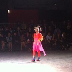 Day-glo neon at Yohji Yamamoto SS1414 #pfw #fashionweek