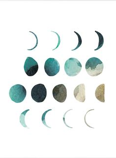 Moon phase art print watercolor moon print home by WhiteDoePrints