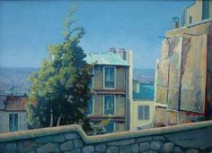 """Good morning & thank you. On the basis that you are in Paris today, I'll break with tradition & not send you a Bow image. Here's ""Montmartre"" by Walter Steggles which I now know dates from Camden London, Camden Town, East London, Bow Image, Bow Art, Urban Landscape, Pattern Wallpaper, Old Houses, Drawings"