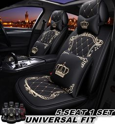 Fashion Cute PU Leather Car Seat Cover Full Set Universal Fit for Honda Toyota Chevy Ford Car Seat Upholstery, Car Interior Upholstery, Car Seat Cushion, Bling Car Accessories, Car Interior Accessories, Car Seat Cover Sets, Car Covers, Auto Seat Covers, Cute Car Seat Covers