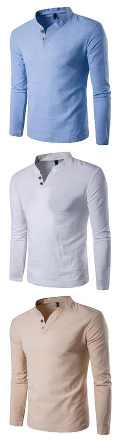 Mens Casual Linen V-neck Chinese Collar Long Sleeve T-shirt Fashion Solid Color Tops