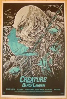 """Creature From The Black Lagoon - silkscreen movie poster (click image for more detail) Artist: Ken Taylor Venue: Alamo Draft house Location: Austin, TX Date: 2012 Edition: 175; numbered Size: 24"""" x 36"""