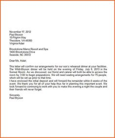 formal business letter on company letterhead