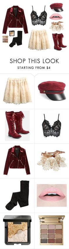 """""""Sinnamon"""" by lrbrugioni ❤ liked on Polyvore featuring Forever 21, JustFab, BLANKNYC, Amrita Singh, Chantecaille, Stila, lace and edgy"""