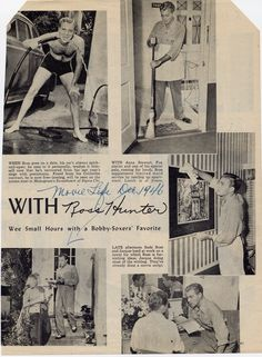 Movie Life magazine December 1946: Anne Stewart, Fox starlet and one of his special pals, coming for lunch, Ross supplements limited maid service by neating up apartment.  Lunch is al fresco.