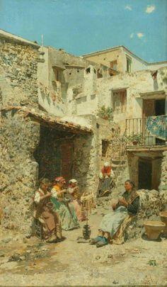 """""""Tecelãs em Nápoles"""" - Óleo sobre tela de Rubens Santoro (Mongrassano, 1859 - Napoli, 1942)"""