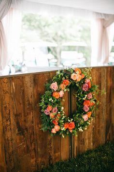 Lisa Foster Floral Design - blackberry farm - floral wreath - garden roses - peach flowers - bar decor - wedding bar - wedding flower arrangements - hanging wedding flowers - lang thomas photography