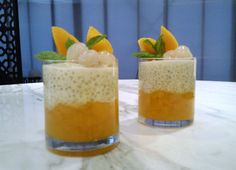 Coconut Tapioca Pearl Pudding with Mango Compote & Lychees