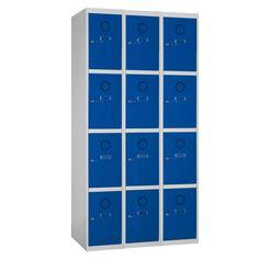 Taquilla metálica modular económica ECOC-30/3, de tres cuerpos y cuatro puertas