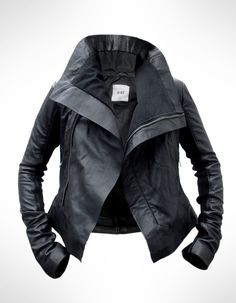 Black Leather Biker Jacket by J.O.D TE PERFECT LEATHER JACKET!