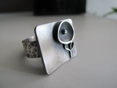 Silver ring black flower oxidized handmade by ZizouArT on Etsy, $79.00