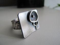 Silver ring black flower oxidized handmade by ZizouArT on Etsy, $79.00