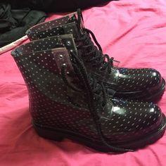 Black and white rain short boots Never worn black and white short rain boots Shoes Winter & Rain Boots