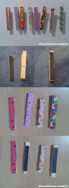 Manualidadesconmishijas: Imanes con pinzas y whasi-tape para la nevera o frigorífico