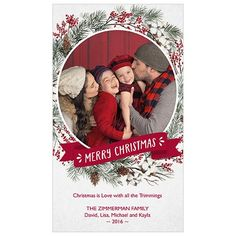 Wreath is a 4x7 one-sided card. Visit our website for more holiday card options! | JCPenney Portraits