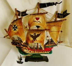 VINTAGE SPANISH WOODEN SHIP FULLY RIGGED WITH SAILS EUC