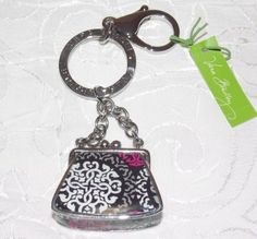 Kisslock Key Clip Purse Tote Bag Keychain In Canterberry Magenta
