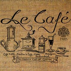 French Coffee Le Cafe Paris Coffee Pots Words Text by Graphique, $1.00