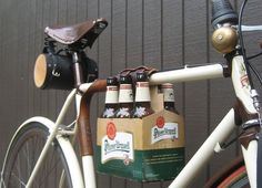 Made by Walnut Studio, the Bike Six Pack Holder is a convenient way to cart around your favorite brewskis without having to drive and drink.