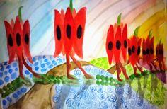 Púštny hrach na pochode akvarel