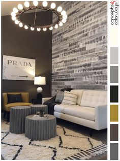 neutral interior color palette with mustard yellow accent, white and gray reclaimed wood paneling, ivory shag rug with black diagonal stripes, 20 light ring chandelier, blackish-brown, white modern sofa, prada marfa sign wall art