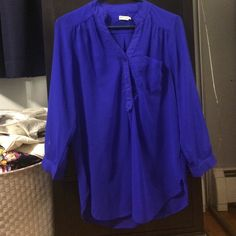 Sheer Blouse looks darker blue in person, buttons half way down, three quarter length sleeves, falls mid butt Tops Blouses