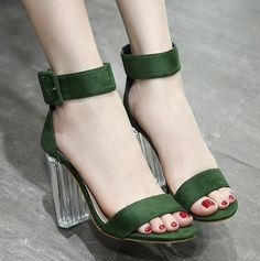 0077b20703d0 Hasp Ankle Wrap Open Toe Chunky High Transparent Heels Sandals