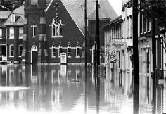 The main street square in Marietta Borough - several blocks from the Susquehanna River - was flooded and impassable during the 1972 deluge caused by Hurricane Agnes. LNP Archived Photo
