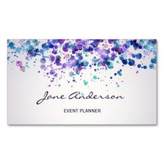 Watercolor purple violet blue paint splatter chic Business Card Template - Business Cards