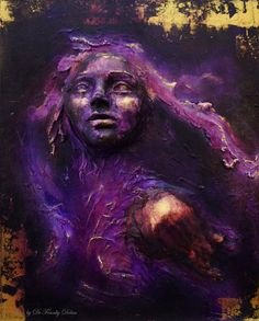 Purple Heart. Wall Sculpture, Original fantasy art by Fae Factory Artist, Dr Franky Dolan (clay relief & canvas painting wall sculpture art)